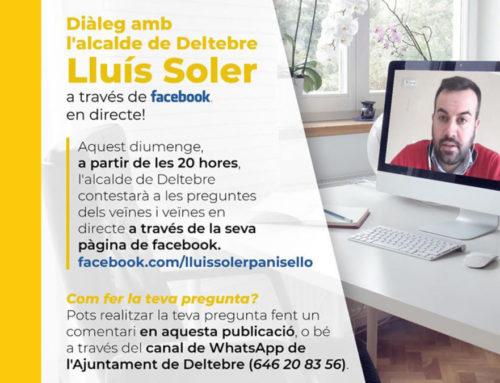 L'alcalde de Deltebre, Lluís Soler Panisello, respondrà preguntes de la ciutadania, avui diumenge a partir de les 20 h per Facebook Live