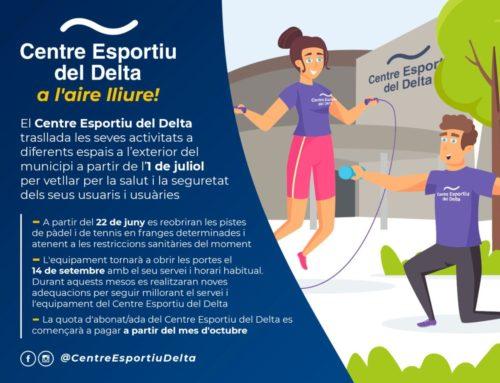 El Centre Esportiu del Delta trasllada les seves activitats a diversos espais exteriors del municipi