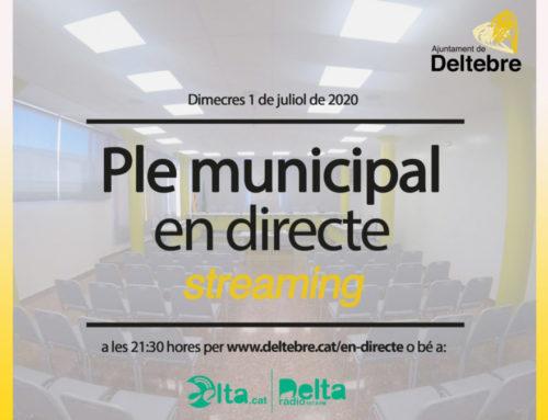 Avui, a les 21.30 h se celebrarà la sessió plenària del mes de juliol